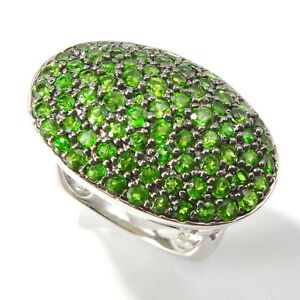 Sterling Silver 3.08ctw Chrome Diopside Cluster Ring, Size 7