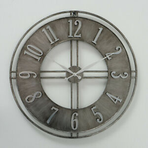 Brushed Silver Industrial Extra large Metal Station Wall Home Office Round Clock