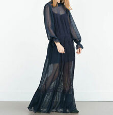 NEW NAVY BLUE SHEER LONG MAXI DRESS SWISS DOT LACE LONG SLEEVES SIZE S CELEBRITY
