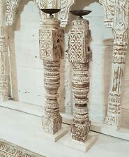 Antique Indian Pillar Leg Bleached Wood Antique Carved Candle stand holder White