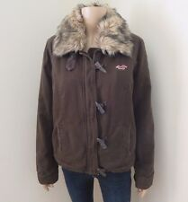 NWT Hollister Womens Sherpa Fur Lined Coat Size Large Jacket Brown Thick & Warm