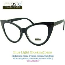 MIASTO BIG CAT EYE COMPUTER READER READING GLASSES +3.25 BLACK (ANTI-BLUE LIGHT)