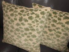 Brunschwig & Fils Throw pillows Zambezi animal cut velvet fabric beige green TWO