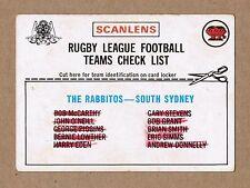 1976 SOUTH SYDNEY SOUTHS RABBITOHS TEAM CHECKLIST NRL RUGBY LEAGUE TRADING CARD