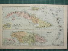1900 LARGE VICTORIAN MAP CUBA HAVANNA ENVIRONS JAMAICA KINGSTON LESSER ANTILLES