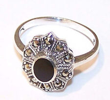 Onyxring Silberring 925 er Silber Onyx Ring schwarzer Onyx und Markasiten Gr. 57