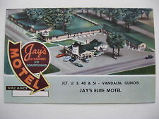 1950's JAY'S ELITE MOTEL, VANDALIA, ILLINOIS POSTCARD