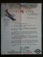 18th NOVEMBER 1940 DOCUMENT HENDON FUND , FIGHTER FUND , WORLD WAR II , HISTORY