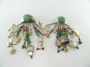 Vintage Tabra Turquoise Clip Earrings Turtle Heart Sterling 925 Silver G876