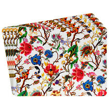 Set of 4 William Morris Anthina Floral Rectangle Laminated Placemats Cork Backed