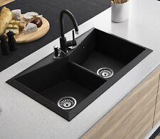 Lavello Black Granite Composite Double Bowl Kitchen Sink Diamond 200LT