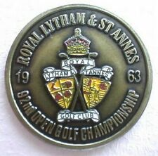 """1963 OPEN GOLF CHAMPIONSHIP QUALITY HAND PAINTED EMBOSSED BALL MARKER 1"""" COIN."""