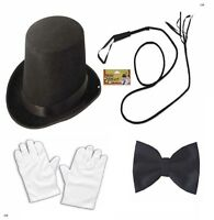 BULL WHIP TOPPER HAT GLOVES BOW TIE RINGMASTER FANCY DRESS COSTUME CIRCUS MAN