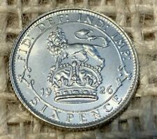 More details for 1926 george 5th silver sixpence 0.5000 brilliant uncirculated