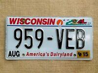 American number licence plate Wisconsin embossed vintage old car genuine USA