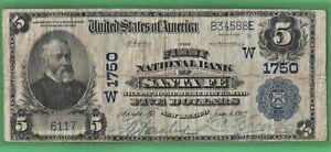 ***  ELUSIVE 1902 $5.00   SANTA FE NEW MEXICO NATIONAL   ***