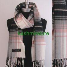 New 100% CASHMERE SCARF MADE IN SCOTLAND PLAID Check Black/Pink/gray/cream SOFT