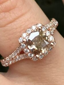 1.60 CT NATURAL Champagne DIAMOND Halo Engagement Ring Cushion Cut 14K Rose Gold