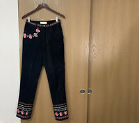 Margaret Godfrey Suede Leather Pants Embroidered Black High Waist Womens Size 8