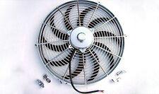 """16"""" Chrome Heavy Duty 2750 CFM Radiator Cooling Fan S blade street rod"""