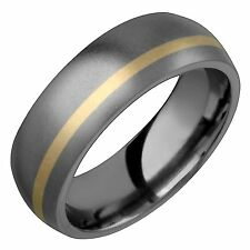 New Mens Titanium Ring Wedding Band 14k Yellow Gold Inlay 7mm Wide Size 10,11