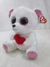"Ty Beanie Boo's Sweetly White Pink Trim Polar Bear 9"" W/Swing Tag Retired 2013"