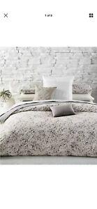 Calvin Klein Nocturnal Blossoms Ivory Gray (2) Standard Pillowcases,Cotton RARE