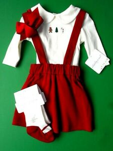 Girls NWT Starting Out Red Christmas 4 pc Portrait Party Church Outfit 3 mos NEW
