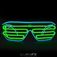GloFX Luminescence Shutter Frames- Cyan and Green Shutter LED Light Up Glasses