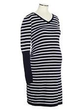 NWT Gap Maternity Rib-Sleeve Cotton Knit Dress Navy/Gray stripe Sz XXL