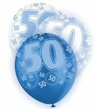 Blue Glitz Latex Balloons Birthday Age Party Decorations 50th