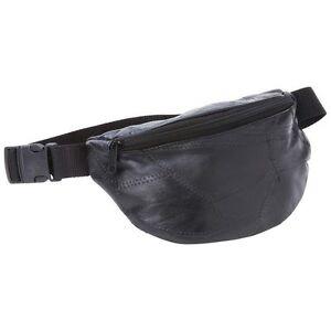 FANNY PACK Black Leather Belt Bag Purse Hip Single Pouch Waist Sports Travel