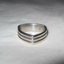 Vintage Unisex Sterling Silver 825 Triangle Shape Ring Size 7.5 Weighs 7.1 Grams