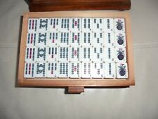 VINTAGE MAH JONG SET 144pc in SOLID WOOD CASE w STICKS DICE COUNTERS