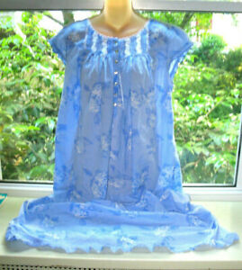 Eileen West nightgown Long Ankle Length Nightgown Blue Floral Hydrangeas sz M