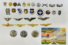 Lot Of 32 Vintage Military Wings, DUI Pins, Rank Insignia And Post Card Book.
