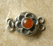 Sterling Silver Box Clasp Double Strand Carnelian Natural Gemstone