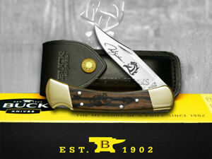 Buck 110 Yellowhorse Folding Hunter Knife Chief Arrowhead Ebony Wood 1/600
