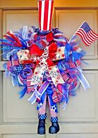 LED Lit 4th of July Uncle Sam Wreath Burlap & Deco Mesh Light Up Door Decor