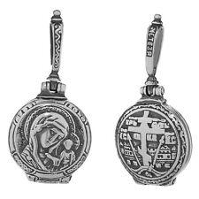 Sterling Silber 925 Orthodoxe Anhänger Gottesmutter von Kazan Medallion 36251