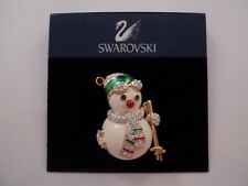 Signed Swarovski Gold Plated Snowman Skier Brooch Pin