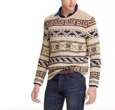 NWT Polo Ralph Lauren Silk Cotton Southwest Blanket Sweater Oatmeal Small $398