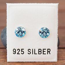 NEU 925 Silber OHRSTECKER 6mm SWAROVSKI STEINE aquamarine/blau/hellblau OHRRINGE