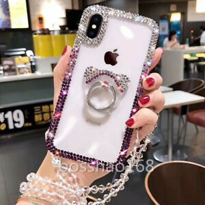 Bling Rhinestones Diamonds Soft phone back stand Cases Cover For iPhone Samsung