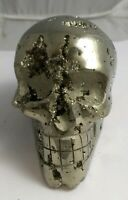 Gorgeous pyrite crystal skull, Peru 561.7 grams!!!  AAA fools gold!!