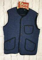 Levis Made Crafted Blue Black Fur Reversible Bodywarmer Traveller Vest £195 S