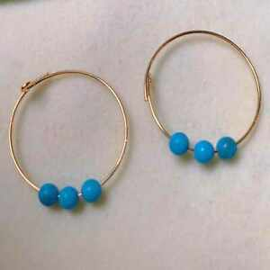 Fashion natural Three blue turquoise gold 18K earrings gift Easter Jewelry