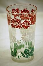 Old Vintage Bachelor Button Floral by Hazel Atlas Swanky Swig Glass Tumbler MCM