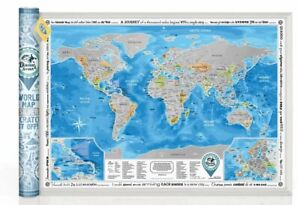 BIG SCRATCH OFF TRAVEL WORLD DISCOVERY MAP SILVER WORLD MAP PUSH PIN WALL POSTER