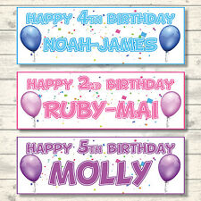 2 PERSONALISED HAPPY BIRTHDAY BALLOON BANNERS -800mmx297mm- CHOICE OF 7 COLOURS